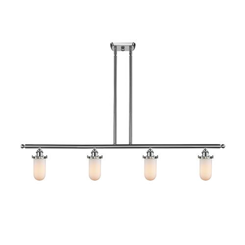 Innovations Lighting Kingsbury Brushed Satin Nickel Four-Light Island Pendant with Matte White Cased Globe Glass