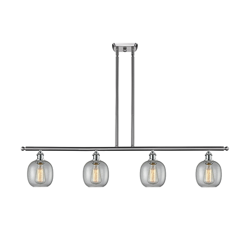 Innovations Lighting Belfast Brushed Satin Nickel Four-Light LED Island Pendant with Clear Seedy Sphere Glass