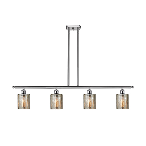 Innovations Lighting Cobbleskill Brushed Satin Nickel Four-Light LED Island Pendant with Mercury Drum Glass