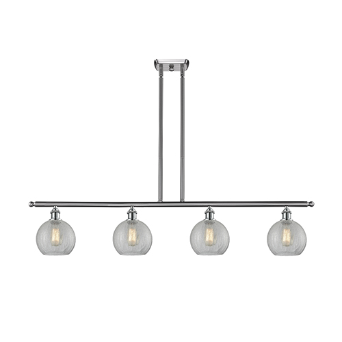 Innovations Lighting Athens Brushed Satin Nickel Four-Light LED Island Pendant with Clear Crackle Globe Sphere Glass