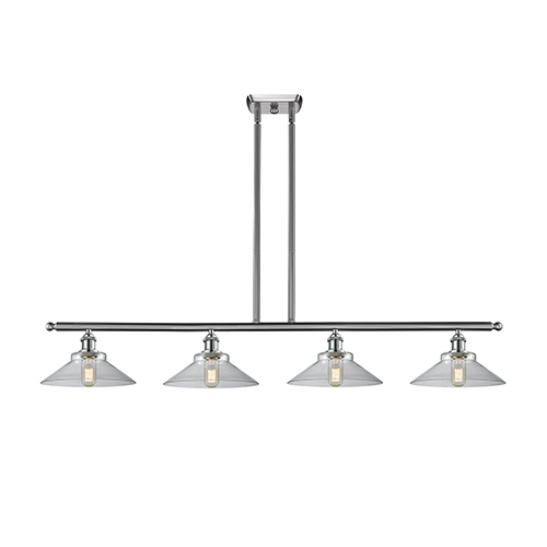 Disc Brushed Satin Nickel Four-Light LED Island Pendant with Clear Cone Glass