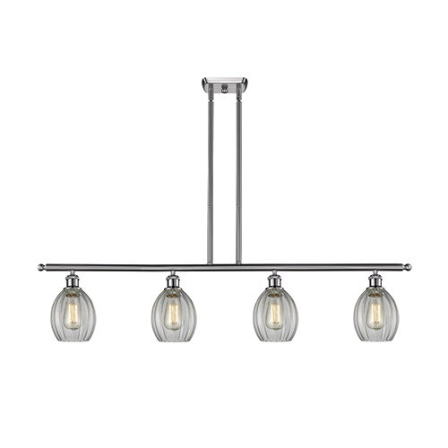 Innovations Lighting Eaton Brushed Satin Nickel Four-Light Island Pendant with Clear Fluted Sphere Glass