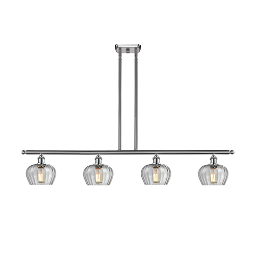 Fenton Brushed Satin Nickel Four-Light Island Pendant with Clear Fluted Sphere Glass