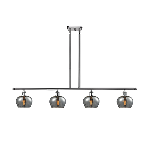 Innovations Lighting Fenton Brushed Satin Nickel Four-Light LED Island Pendant with Smoked Fluted Sphere Glass
