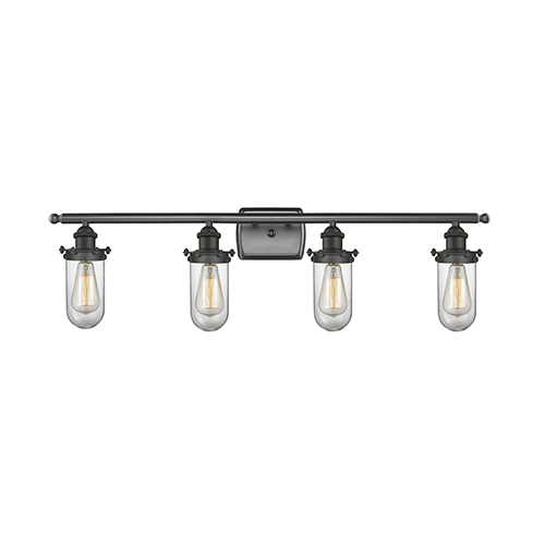 Innovations Lighting Kingsbury Oiled Rubbed Bronze Four-Light Bath Vanity with Clear Globe Glass