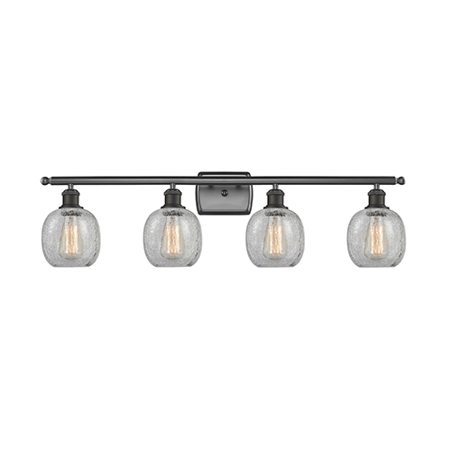 Innovations Lighting Belfast Oiled Rubbed Bronze Four-Light Bath Vanity with Clear Crackle Sphere Glass