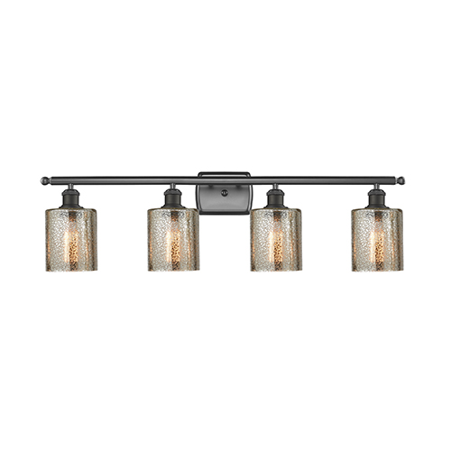 Cobbleskill Oiled Rubbed Bronze Four-Light LED Bath Vanity with Mercury Drum Glass