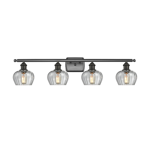 Innovations Lighting Fenton Oiled Rubbed Bronze Four-Light Bath Vanity with Clear Fluted Sphere Glass