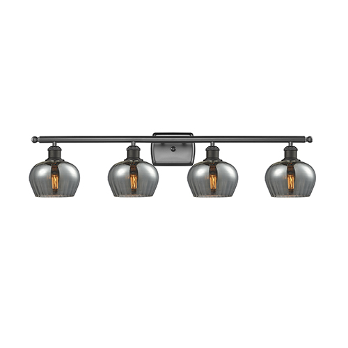 Innovations Lighting Fenton Oiled Rubbed Bronze Four-Light Bath Vanity with Smoked Fluted Sphere Glass