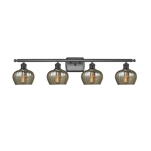 Fenton Oiled Rubbed Bronze Four-Light LED Bath Vanity with Mercury Fluted Sphere Glass
