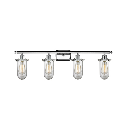 Innovations Lighting Kingsbury Polished Chrome Four-Light LED Bath Vanity with Clear Globe Glass
