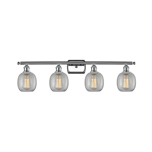 Belfast Polished Chrome Four-Light LED Bath Vanity with Clear Crackle Sphere Glass