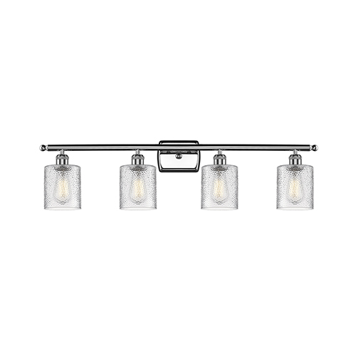 Cobbleskill Polished Chrome Four-Light Bath Vanity with Clear Ripple Drum Glass