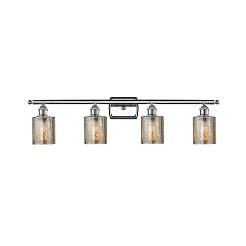 Innovations Lighting Cobbleskill Polished Chrome Four-Light LED Bath Vanity with Mercury Drum Glass