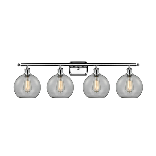 Athens Polished Chrome Four-Light Bath Vanity with Clear Globe Sphere Glass