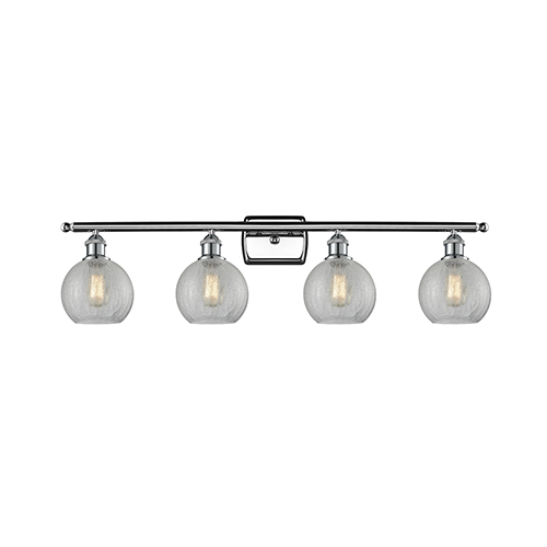 Innovations Lighting Athens Polished Chrome Four-Light Bath Vanity with Clear Crackle Globe Sphere Glass