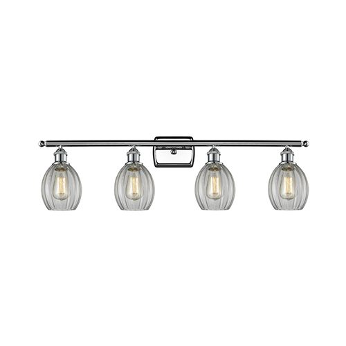 Innovations Lighting Eaton Polished Chrome Four-Light LED Bath Vanity with Clear Fluted Sphere Glass