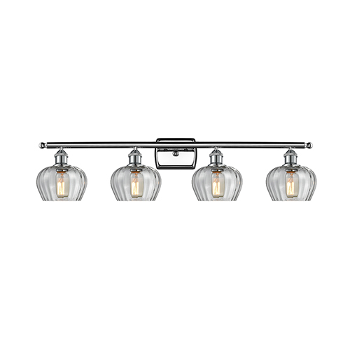 Innovations Lighting Fenton Polished Chrome Four-Light Bath Vanity with Clear Fluted Sphere Glass