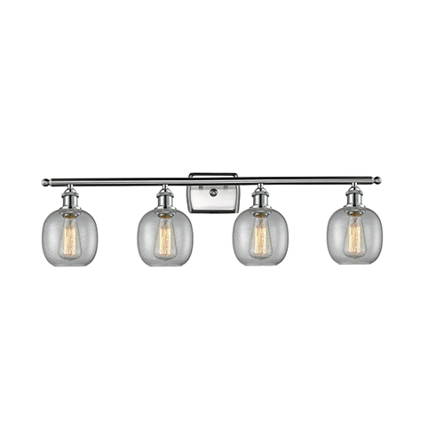 Belfast Brushed Satin Nickel Four-Light LED Bath Vanity with Clear Seedy Sphere Glass