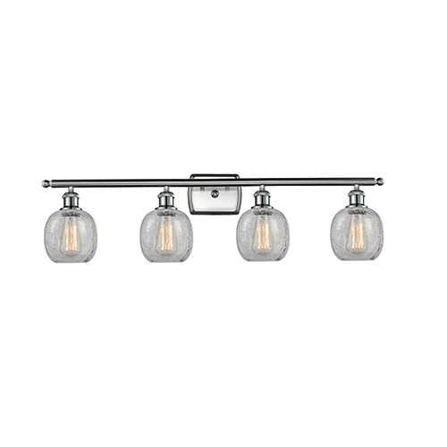 Innovations Lighting Belfast Brushed Satin Nickel Four-Light Bath Vanity with Clear Crackle Sphere Glass