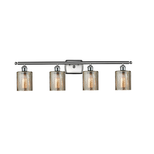 Innovations Lighting Cobbleskill Brushed Satin Nickel Four-Light Bath Vanity with Mercury Drum Glass