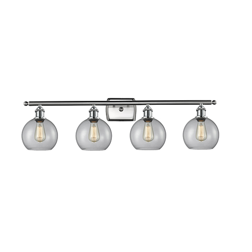Athens Brushed Satin Nickel Four-Light Bath Vanity with Clear Globe Sphere Glass