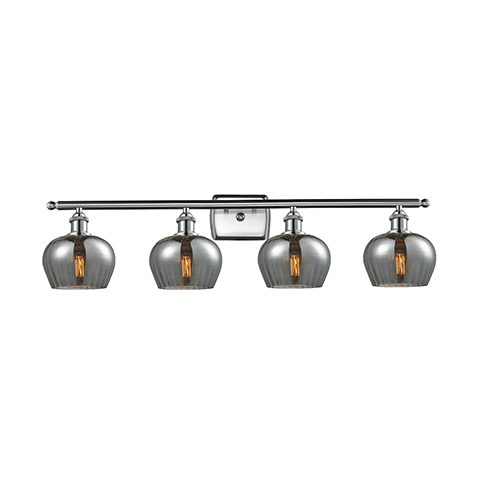 Innovations Lighting Fenton Brushed Satin Nickel Four-Light LED Bath Vanity with Smoked Fluted Sphere Glass
