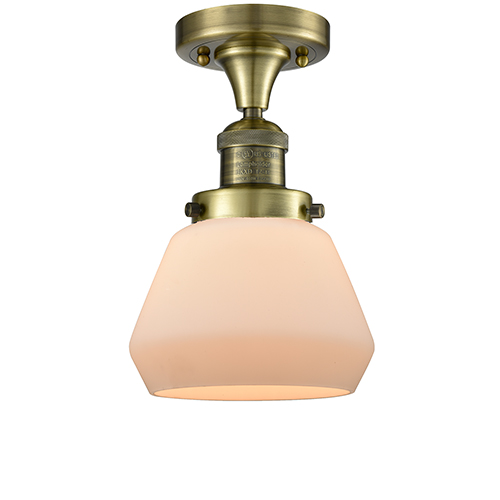 Innovations Lighting Fulton Antique Brass LED Semi Flush Mount with Matte White Cased Sphere Glass