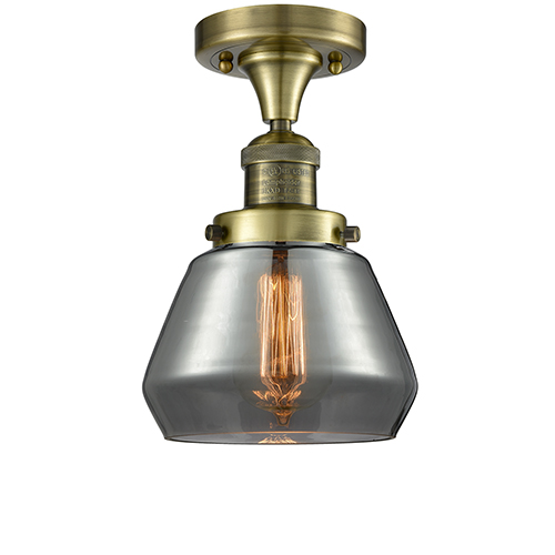 Fulton Antique Brass One-Light Semi Flush Mount with Smoked Sphere Glass