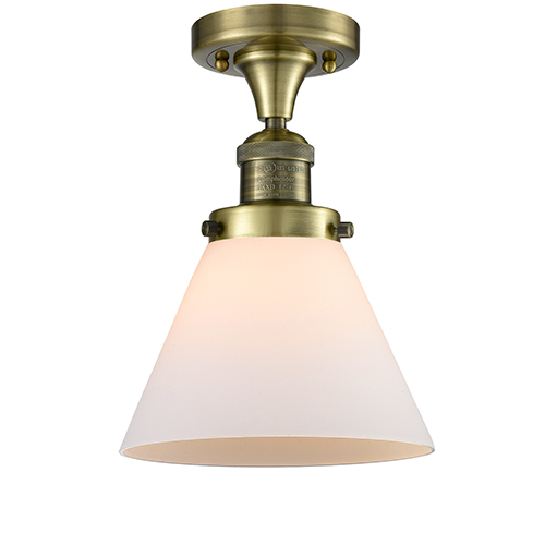 Innovations Lighting Large Cone Antique Brass One-Light Semi Flush Mount with Matte White Cased Cone Glass