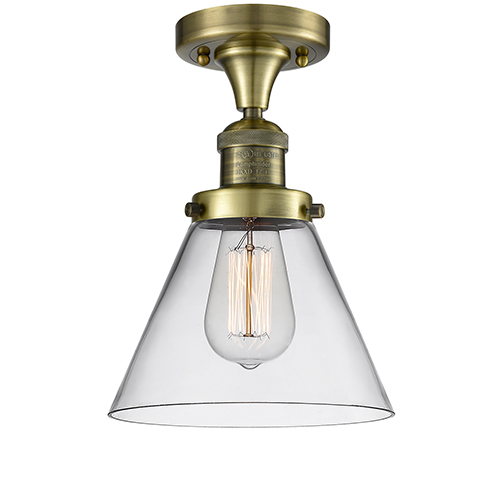 Innovations Lighting Large Cone Antique Brass One-Light Semi Flush Mount with Clear Cone Glass
