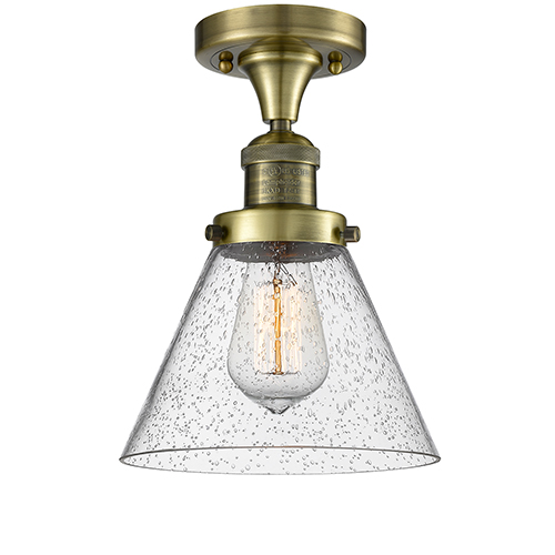 Innovations Lighting Large Cone Antique Brass One-Light Semi Flush Mount with Seedy Cone Glass