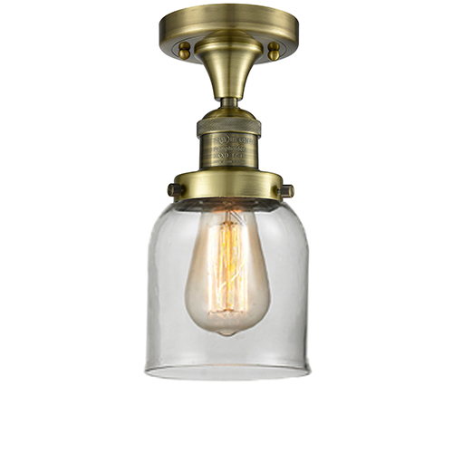 Innovations Lighting Small Bell Antique Brass One-Light Semi Flush Mount with Clear Bell Glass