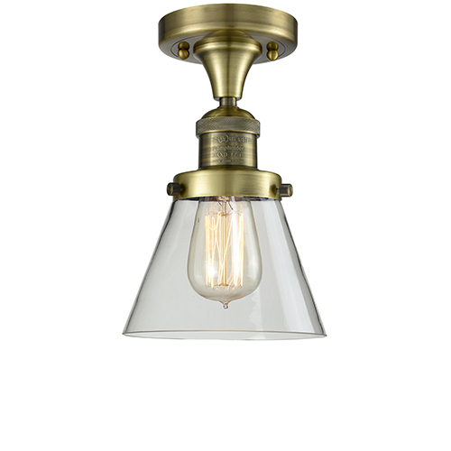 Innovations Lighting Small Cone Antique Brass One-Light Semi Flush Mount with Clear Cone Glass
