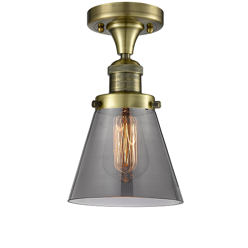 Innovations Lighting Small Cone Antique Brass One-Light Semi Flush Mount with Smoked Cone Glass