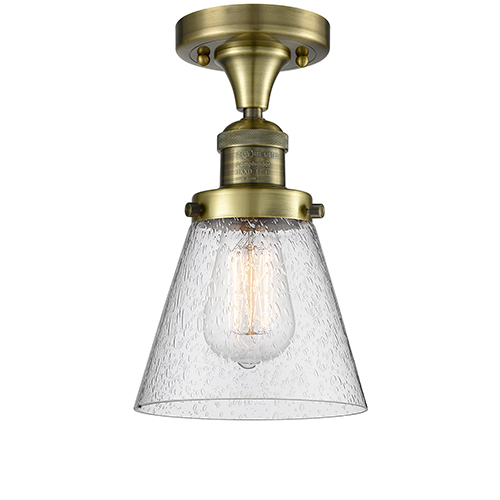 Small Cone Antique Brass LED Semi Flush Mount with Seedy Cone Glass