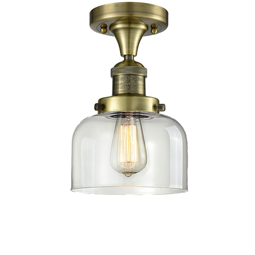 Innovations Lighting Large Bell Antique Brass LED Semi Flush Mount with Clear Dome Glass