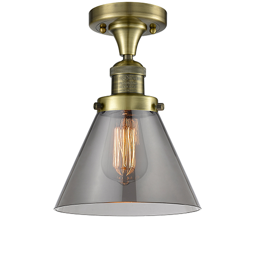Innovations Lighting Large Bell Antique Brass One-Light Semi Flush Mount with Smoked Dome Glass