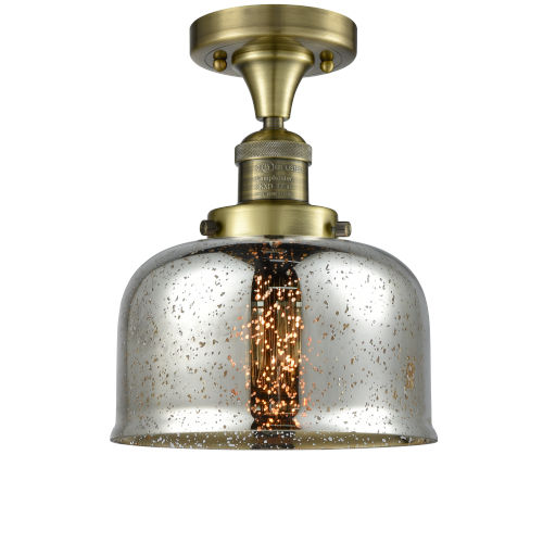 Large Bell Antique Brass LED Semi Flush Mount with Silver Plated Mercury Glass