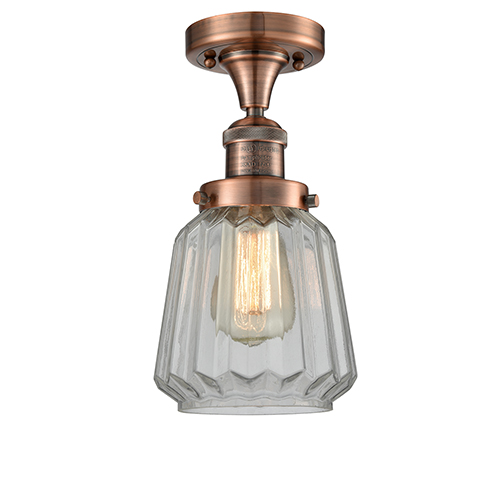 Chatham Antique Copper 14-Inch One-Light Semi Flush Mount with Clear Fluted Novelty Glass