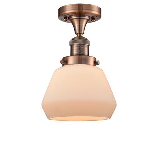 Innovations Lighting Fulton Antique Copper 11-Inch One-Light Semi Flush Mount with Matte White Cased Sphere Glass