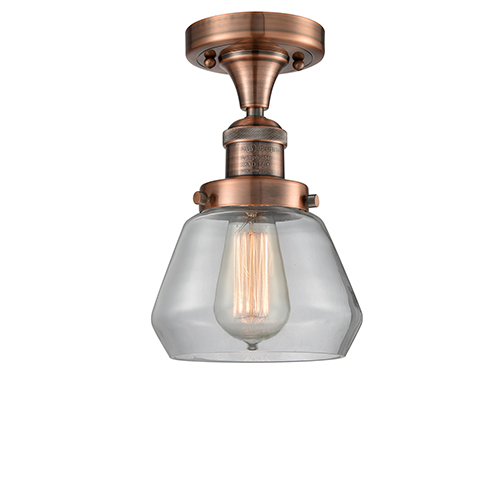 Innovations Lighting Fulton Antique Copper 11-Inch LED Semi Flush Mount with Clear Sphere Glass