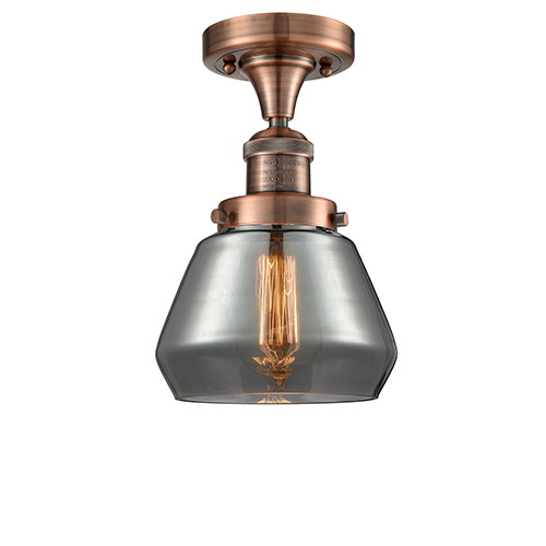 Innovations Lighting Fulton Antique Copper 11-Inch LED Semi Flush Mount with Smoked Sphere Glass