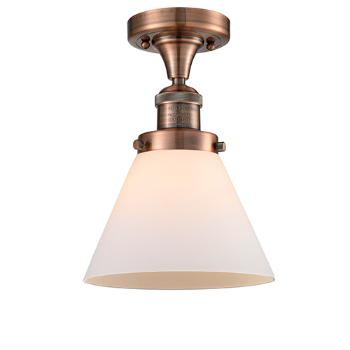 Innovations Lighting Large Cone Antique Copper 12-Inch LED Semi Flush Mount with Matte White Cased Cone Glass