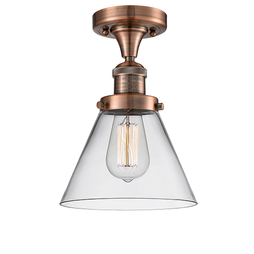 Innovations Lighting Large Cone Antique Copper 12-Inch One-Light Semi Flush Mount with Clear Cone Glass