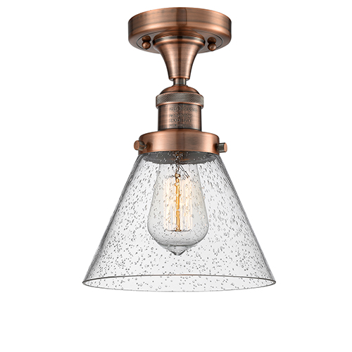 Large Cone Antique Copper 12-Inch One-Light Semi Flush Mount with Seedy Cone Glass