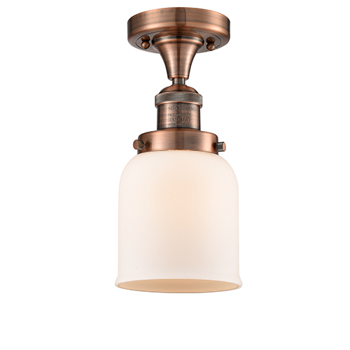 Innovations Lighting Small Bell Antique Copper Nine-Inch LED Semi Flush Mount with Matte White Cased Bell Glass