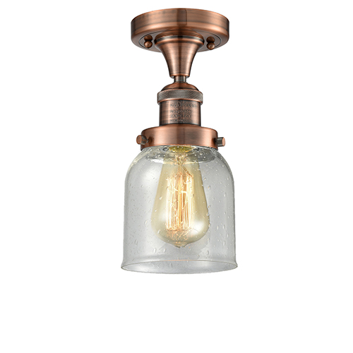 Innovations Lighting Small Bell Antique Copper Nine-Inch One-Light Semi Flush Mount with Seedy Bell Glass