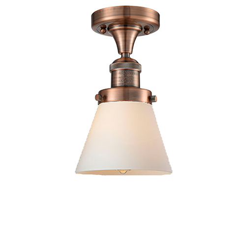 Small Cone Antique Copper Seven-Inch One-Light Semi Flush Mount with Matte White Cased Cone Glass