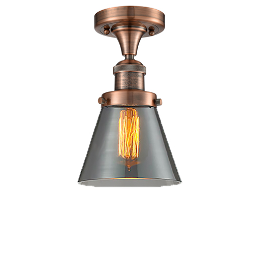 Innovations Lighting Small Cone Antique Copper Seven-Inch One-Light Semi Flush Mount with Smoked Cone Glass